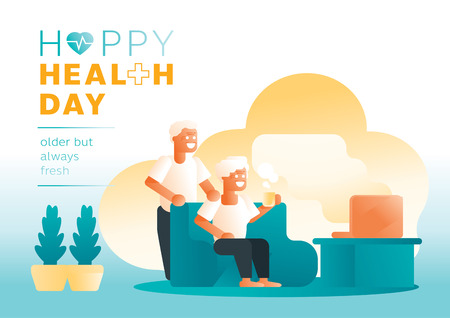 couple olders happy daily life with morning coffee background vector illustration Illustration