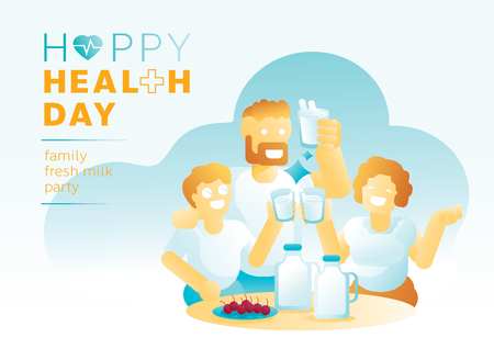 family fresh milk party in health day vector illustration background