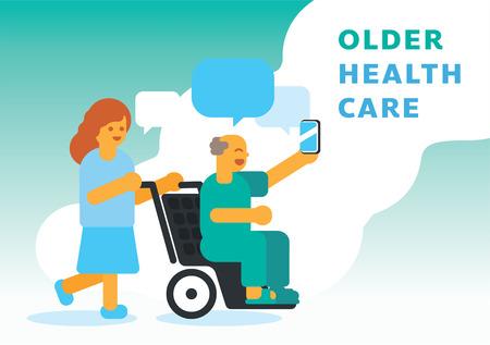 Grandpa older selfies on wheelchair with nurse caring vector illustration background Illustration