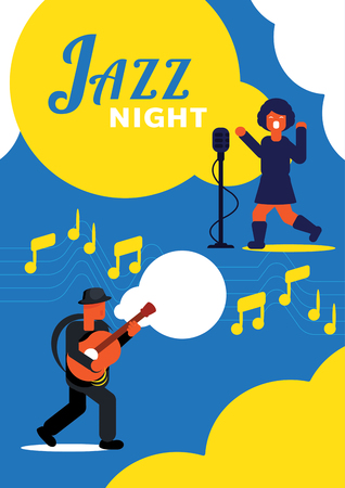colorful jazz night poster design with guitarist and woman singer vector illustration Illustration