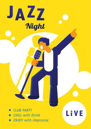 jazz night concert with singer star singing and dancing poster design Illustration