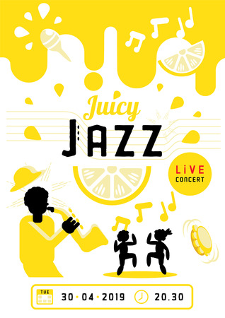 juicy jazz with saxophone man and dancing people poster design