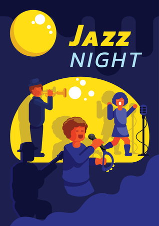 jazz band playing music in full moon poster design vector illustration Zdjęcie Seryjne - 121194029