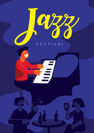 jazz festival with pianist in jazz pub and love couple drinking beer poster design vector illustration