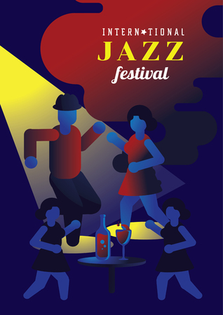 couple dancing on jazz day in night club vector illustration poster design