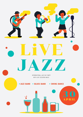 live jazz party with jazz band vector illustration poster design