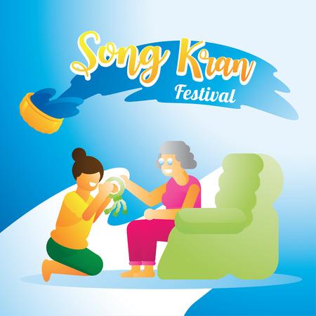 Thai girl respect mom in Songkran festival with jusmine garland flower vector illustration background