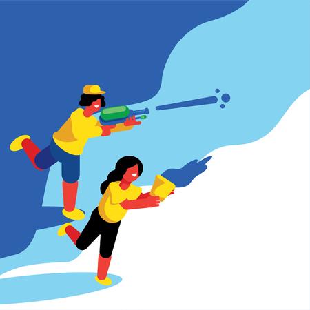 boy and girl soaking in Songkran festival vector illustration background