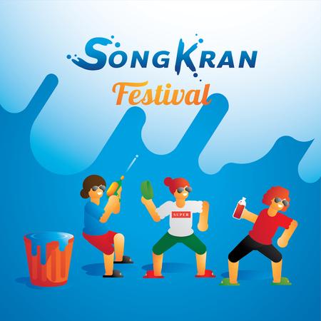 teen group dancing in Songkran festival vector illustration background