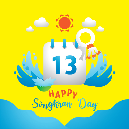 colorful happy Songkran day with 13th on calendar vector illustration background