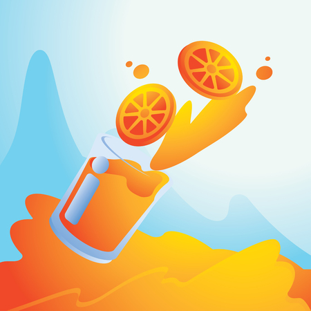 summer splash with orange juice background vector illustration background Illustration