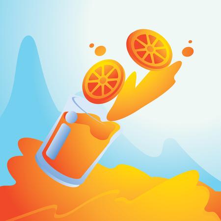 summer splash with orange juice background vector illustration background Ilustracja