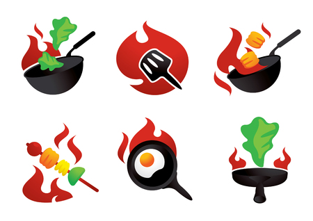 hot cook on fire vector illustration with fried egg,wok and barbeque grilled