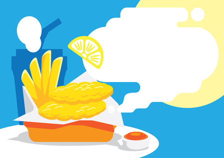 fish and ship background design with lemon vector illustration Ilustracja