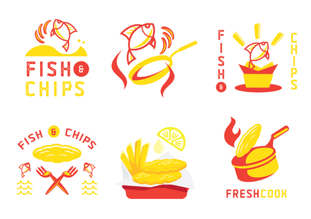 fish and chip badge design and vector illustration with jumping fish and hot cooking with flame Ilustracja