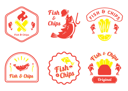 fish and chips retro badge design vector illustration with Cot fish,lemon,plastic fork,fire and french fries Ilustracja