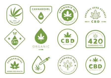 cannabidiol badge design set with cannabis leaf vector illustration Illustration