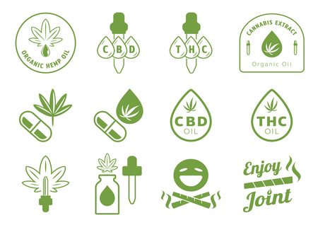 hemp oil with extract drop badge design with dropper,bottle,oil,smiling emoji and joint on fire vector illustration Иллюстрация