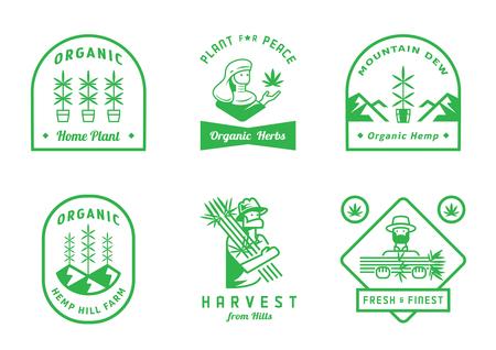 Diseño de insignia de granja de cáñamo con cosecha de granjero, colina de montaña, ilustración de vector de planta de casa