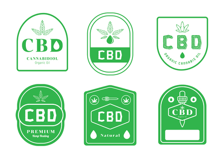 cannabis oil label design with oil drop vector illustration