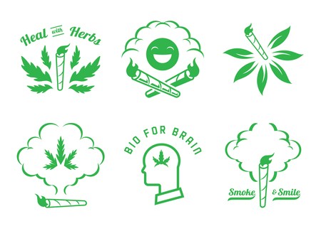 flame on hemp joint graphic element design with smoke,cannabis rolled vector illustration