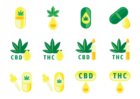hemp oil drop flat icon set with CBD and THC capsule,cannabis leaf and tube vector illustration