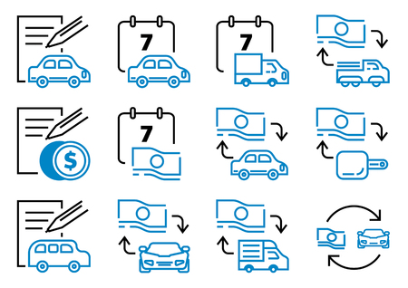 motor leasing line icon set with contact sheet,car,truck,van,banknote,contact sheet and pen vector illustration