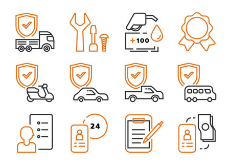 motor leasing business icon set with contact sheet,car,truck,van,banknote,contact sheet and pen vector illustration