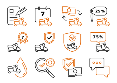 motorbike line leasing icon set with contact sheet,banknote,contact sheet and pen vector illustration