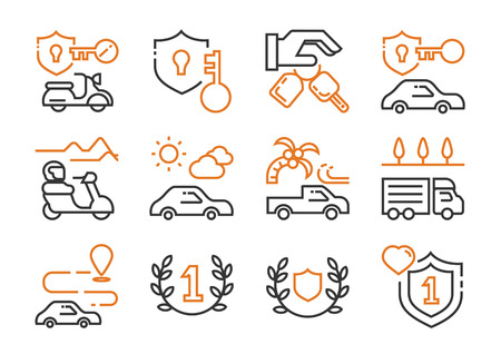 vehicle rent business icon set with motorbike,car,van,truck with travel scene