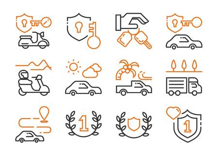 vehicle rent business icon set with motorbike,car,van,truck with travel scene Zdjęcie Seryjne - 122477689