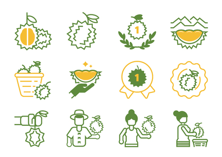 premium quality durain icon design with farmer,organic plant,harvesting and full of basket vector illustration