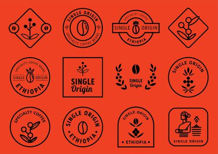 single origin badge design set with coffee fruits, leaf, crown, beans and local farmer vector illustration