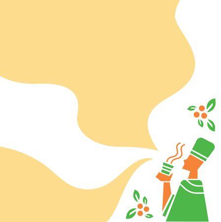 Ethiopian monk drink hot espresso coffee background vector  illustration background. Illustration