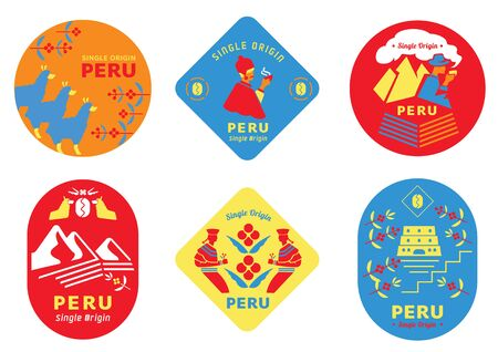 single origin Peru coffee label set with local people,uncle drinking  coffee,girl harvesting fruits and lama eating from tree.