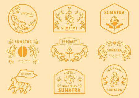 Insignia del logotipo del café de Sumatra con tigre en el bosque de café comiendo frutas sosteniendo la bandera y de muchas maneras para representar el café de especialidad de Sumatra, Indonesia. Logos