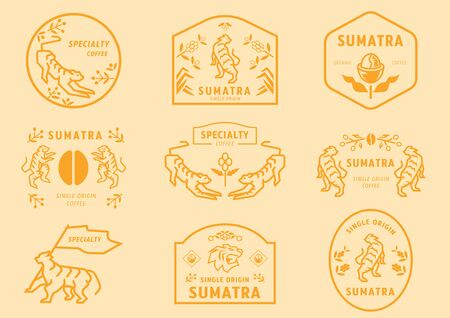 Sumatra coffee logo badge with tiger in coffee forest eating fruits holding flag and many manner for represent specialty coffee from Sumatra, Indonesia.