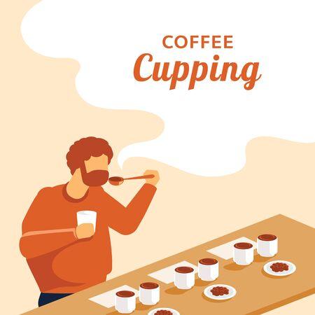 beard man coffee cupping flat vector illustration Banco de Imagens - 131870592