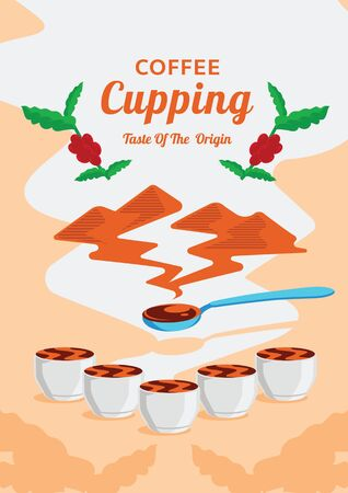 coffee cupping poster with mountain origin aroma flat illustration with coffee fruits. Ilustracja