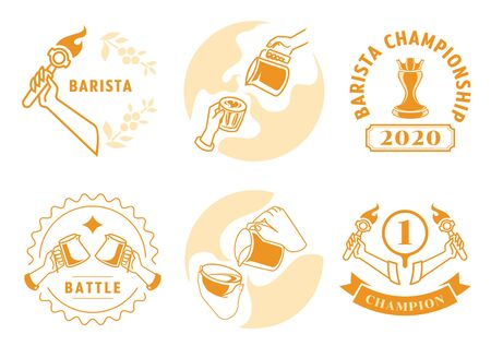 latte art badge design set with crown on tamper, milk pouring, the battle of pitchers, battle badge with eight ounces cup.