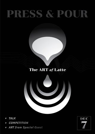 the art of latte poster design with pouring milk with pitcher illustration