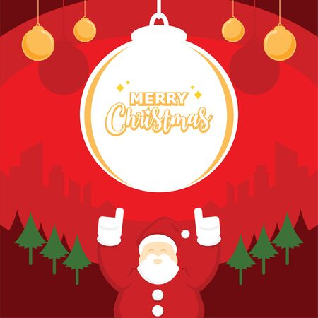 merry christmas with santa celebrate flat vector illustration background.