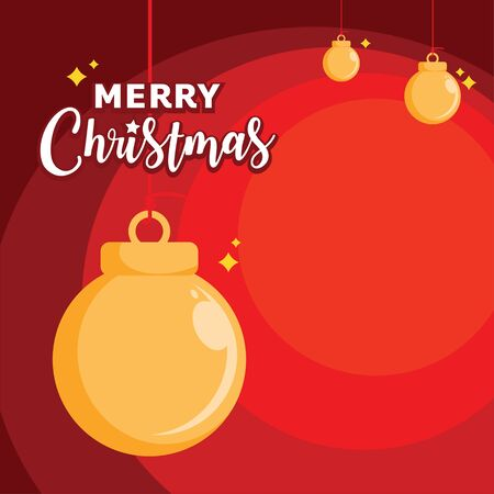 merry christmas with golden ball  backgrounds  design in flat style