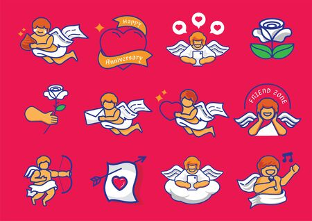 cupid illustration set with mail, chocolate, rose, heart, arrow, wing, singing and playing mobile phone