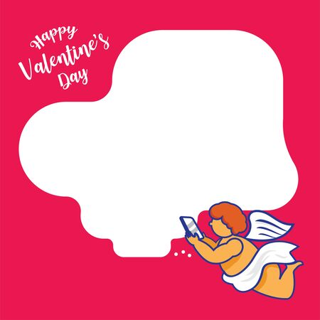 cupid send love message with mobile phone while flying background Ilustracja