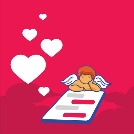 cupid send love with mobile phone while chatting background design. Ilustracja
