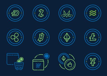 digital coin and wallet icon set vector illustration Ilustracja