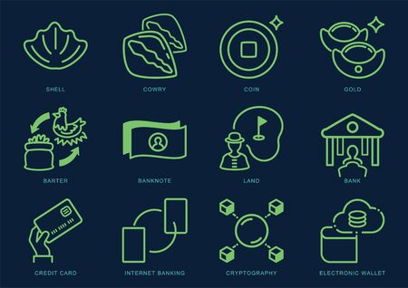 money and asset evolution line icon set from cowry to cryptocurrency Ilustracja