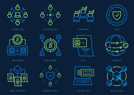 cryptography icon set with blockchain technology,graphic card mining,pool mining,smart contract,electronic know your customer,centralized ,decentralized and security key. Illustration