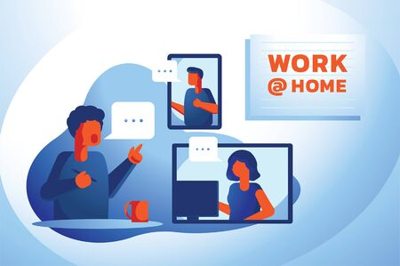 video conference from home vector illustration with boss and office worker